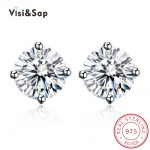 Visisap 4 Claws Little Stud <b>Earrings</b> for Women 100% 925 <b>Sterling</b> <b>silver</b> jewelry vintage wedding <b>earring</b> cubic zirconia VSHE0003