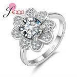 JEXXI Fashion Flower Romantic Engagement <b>Rings</b> For Women Jewelry <b>Sterling</b> <b>Silver</b> Cubic Zirconia Crystal Wedding Promise <b>Ring</b>
