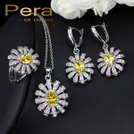 Pera 3 Piece 925 <b>Sterling</b> <b>Silver</b> CZ Jewelry Sets For Women Big Yellow Stone Sun Cluster Flower Tennis Necklace And Earrings J189