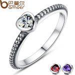 BAMOER 3 Colors Authentic 100% 925 <b>Sterling</b> <b>Silver</b> <b>Ring</b> Love Heart <b>Ring</b> Original Wedding Jewelry Gift For Mother PA7107