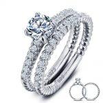 Wholesale 1 Carat Round Cut Created Solid 925 <b>Sterling</b> <b>Silver</b> 2-Pc Wedding <b>Ring</b> Set Jewelry YR0001