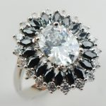 Black White Crystal Zircon 925 <b>Sterling</b> <b>Silver</b> <b>Ring</b> Size 6 7 8 9 10 11 A32