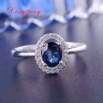 925 <b>silver</b> inlaid 1 carat natural sapphire <b>ring</b> female <b>ring</b> <b>ring</b> classic girlfriend mother good gift boutique jewelry