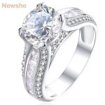 Newshe 925 <b>Sterling</b> <b>Silver</b> Wedding Engagement <b>Ring</b> 2 Ct Round White AAA CZ Fashionable Design Jewelry For Women JR4791