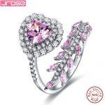 Jrose 2.14ct Fine Jewelry Women Heart Style Pink CZ 100% 925 <b>Sterling</b> <b>Silver</b> <b>Ring</b> Engagement <b>Rings</b> charms Ladies morning gifts