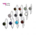 Lucky Birthstone <b>Ring</b> 12Color Imitation Semi-precious Birthday Stone Jewelry European Bijoux 925 <b>Sterling</b> <b>Silver</b> <b>Rings</b> For Women