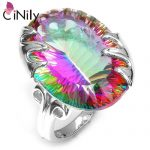 CiNily Authentic. Solid 925 <b>Sterling</b> <b>Silver</b> New Huge Created Mystic Topaz for Women Fine Jewelry Engagement <b>Ring</b> Size 7-8 SR014
