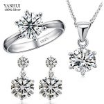 Big Promotion!!! YANHUI Fashion 925 <b>Sterling</b> <b>Silver</b> Jewelry Sets Luxury CZ Zircon <b>Ring</b> Earrings Pendant Necklace Sets S1264