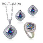 Drop Stamped <b>Sterling</b> <b>Silver</b> Rainbow mystic Jewelry Sets <b>Earrings</b>/Pendant/Necklace/Rings For Women JS663