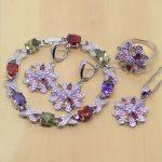 Flower Green Red Purple Pink White CZ Women 925 <b>Sterling</b> <b>Silver</b> Jewelry Sets Earrings/Pendant/Necklace/<b>Ring</b>/Bracelet