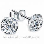 Genuine 925 Pure <b>Sterling</b> <b>Silver</b> Wedding Engagement White Clear Black Cubic Zirconia Stud <b>Earrings</b> For Women Men Fashion Jewelry