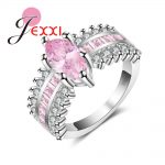 JEXXI Modern Oval Pink Crstal with Micro Square Paving Setting Finger <b>Rings</b> <b>Sterling</b> <b>Silver</b> 925 Jewelry for Women Engagement