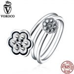 VOROCO Retro Style 100% Real 925 <b>Sterling</b> <b>Silver</b> Seedpod of The Lotus Open Finger <b>Rings</b> Women Lover Party Gifts