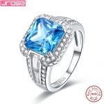 Jrose Women Fine 7.5ct Dazzling Princess Cut London Blue CZ <b>Ring</b> Cocktail Genuine Real Pure Solid 925 <b>Sterling</b> <b>Silver</b> Gift