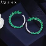 ANGELCZ Famous Brand Jewelry High Quality 925 <b>Sterling</b> <b>Silver</b> Big Round Stud <b>Earrings</b> Inlaid 17 Pcs Green Austrian Crystal AE058