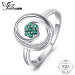 JewelryPalace Brand Fashion 0.12 ct Round Created Emerald <b>Ring</b> 925 <b>Sterling</b> <b>Silver</b> Fine Jewelry Engagement <b>Rings</b> For Women Gifts
