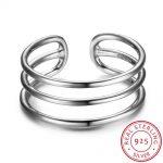 925 <b>Sterling</b> <b>Silver</b> <b>Ring</b> For Women 3 Layers with Open Cuff Adjustable Fashion <b>Rings</b> For Girl <b>Silver</b> Jewelry (RI102678)