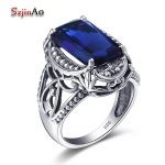 Szjinao Finger Flower <b>Ring</b> Sapphire 925 <b>Sterling</b> <b>Silver</b> Jewelry wholesale Carving Boho Vintage Square Wedding <b>Rings</b>