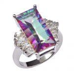 Huge Rose Rainbow Crystal Zircon With Multi White Crystal Zircon 925 <b>Sterling</b> <b>Silver</b> <b>Ring</b> For Women Size 6 7 8 9 10 11 F1464