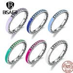 BISAER 925 <b>Sterling</b> <b>Silver</b> Radiant Hearts, Radiant Orchid Enamel & Cerise Crystals Finger <b>Rings</b> for Women Engagement Jewelry