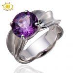 Hutang Big Gemstone Jewelry Wedding <b>Ring</b> 2.95Ct Purple Amethyst <b>Sterling</b> <b>Silver</b> 925 Solitaire <b>Rings</b> for Women Fine Jewellry