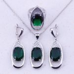 Amazing Deep Green Imitation Emerald & CZ 925 <b>Sterling</b> <b>Silver</b> Jewelry Sets For Women Fashion Party Jewelry Free Gift Box J0017