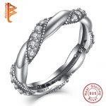 BELAWANG Genuine Real 925 <b>Sterling</b> <b>Silver</b> <b>Ring</b> Pave AAA+ Crystal Ribbon of The Love Finger <b>Rings</b> for Women/Girls Fashion Jewelry