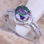 Precious Rainbow Cubic Zirconia White CZ 925 <b>Sterling</b> <b>Silver</b> For Women <b>Ring</b> Size 5 / 6 / 7 / 8 / 9 / 10 S0448