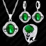 PATICO 925 <b>Sterling</b> <b>Silver</b> Best Quality Green Cubic Zircon Crystal Fashion Jewelry Sets Pendant Necklace & <b>Earrings</b>& Ring