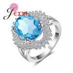 JEXXI Big Oval Blue Crystal Clover Flower Design Bague Femme Inlay CZ White Cutting Rhineston 925 <b>Sterling</b> <b>Silver</b> <b>Rings</b> for Wo