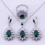 Delightful Green Created Emerald & CZ 925 <b>Sterling</b> <b>Silver</b> Jewelry Sets For Women Trendy Fashion Jewelry Free Gift Box J0032