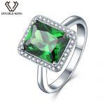 DOUBLE-R Created Emerald Gemstone 925 <b>Sterling</b> <b>Silver</b> <b>Ring</b> Engagement <b>Ring</b> for Women