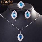 CWWZircons Brand 2017 Fashion Light Blue Cubic Zirconia Crystal 925 <b>Sterling</b> <b>Silver</b> Jewelry Sets For Women T190