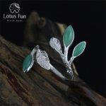Lotus Fun Real 925 <b>Sterling</b> <b>Silver</b> Jewelry Natural Stone Handmade Fine Jewelry Adjustable Leaves <b>Ring</b> Female <b>Rings</b> for Women