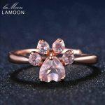 LAMOON Fine Jewelry Women Body <b>Rings</b> Adjustable Animal Paw 5mm 925 <b>Sterling</b> <b>Silver</b> Romantic 100% Natural Pink Rose Quartz <b>Ring</b>
