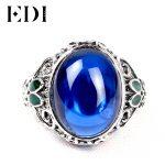 EDI Vintage 925 <b>Silver</b> Blue Corundum Jade <b>Rings</b> Classic <b>Ring</b> Cloisonne Jewelry Filigree Round Retro Boule Jewelry <b>Ring</b> For Women