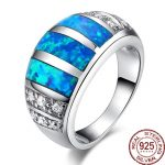 Aceworks Blue Opals Gem Material 100% Real 925 <b>Sterling</b> <b>Silver</b> <b>Rings</b> Women Nature Stone Noble Design Jewelry Refinement Gift