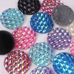 Taidian DIY Sewing 25mm AB Round Flat Back Resin Cabochons For Fashion <b>Native</b> <b>American</b> <b>Jewelry</b> Making 100pcs/lot