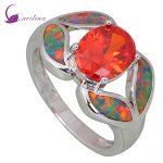Garilina Fashion women <b>ring</b> Red Cubic Zirconia Garnet Opal 925 <b>Sterling</b> <b>Silver</b> jewelry <b>ring</b> size 6 7 8 9 R412