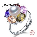 100% real freshwater pearl colourful sunflowwer <b>ring</b> for women 925 <b>sterling</b> <b>silver</b> adjustable <b>ring</b> with AAAA natural pearl