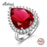 Shineland Trendy Wedding Bands 925 <b>Sterling</b> <b>Silver</b> Water Drop Cubic Zirconia <b>Ring</b> for Women Luxury Party Engagement <b>Ring</b> Jewelry