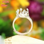 <b>Sterling</b> <b>Silver</b> 925 White Gold 10-12MM Cabochon <b>Rings</b> for Amber Opal Agate Turquoise Fine Jewelry Wholesale