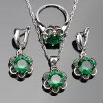 Green Zirconia 925 <b>Sterling</b> <b>Silver</b> Jewelry Sets Women Bridal Stone Ladies Earrings Pendant Necklaces <b>Rings</b> Set Jewelery Gift Box