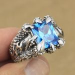 LINSION Huge Blue CZ Stone 925 <b>Sterling</b> <b>Silver</b> Dragon Claw <b>Ring</b> Mens Boys Biker Rock Punk <b>Ring</b> 8T102