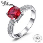 JewelryPalace Cushion 2.6ct Red Created Rubies Solitaire Engagement <b>Ring</b> For Women Genuine 925 <b>Sterling</b> <b>Silver</b> Jewelry Fine <b>Ring</b>