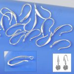 Wholesale 50PCS Jewelry Findings Genuine Solid 925 <b>Sterling</b> <b>Silver</b> <b>Earring</b> Smooth Hook Ear Wires For Design DIY Swa Crystal CZ