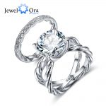 Luxury Wedding Accessorise 12mm 6.5 CT Hearts And Arrows Round Cubic Zirconia 925 <b>Sterling</b> <b>Silver</b> <b>Ring</b> Sets (JewelOra RI102340)