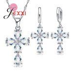 JEXXI Women Girls Fashion Jewelry Set 925 <b>Sterling</b> <b>Silver</b> Shiny Flower Cubic Zirconia Pendant/Necklace/<b>Earrings</b> Accessories