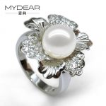MYDEAR Pearl Jewelry New Design Big White Pearl <b>Ring</b> Natural 13-14mm Freshwater Pearl <b>Rings</b>,Trendy Flower Shape Women Jewelry