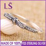 LS High Quality 100% Real 925 <b>Sterling</b> <b>Silver</b> SPARKLING BOW <b>Ring</b> For Women DIY Fashion <b>Rings</b> 100% Fine Jewelry H